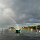 Dramatic Storm Clouds and Double Rainbow over Boats in Camden Harbor, Camden, ME