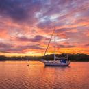 "Dramatic Sunset over Cutter-rigged Sailboat ""Rachel Kalyn""  on Point Judith Pond, South Kingstown, RI"