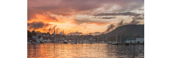Dramatic Sunset over Camden Harbor and Mount Battie in Camden Hills, Camden, ME