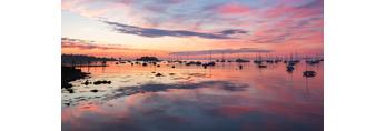 Sunrise over Boats in Sherman Cove in Camden Harbor, Camden, ME