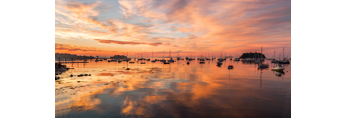 Dramatic Sunrise over Boats in Camden Harbor, Camden, ME