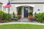 Flowers Pots and American Flag at Entrance to Home, Stonington, CT