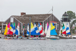 Colorful Sailboats and Replica of Brant Point Lighthouse at Mystic Seaport: The Museum of America and the Sea, Mystic River, Mystic, CT