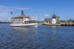 """Tourboat """"Sabino"""" Cruising by Replica of Brant Point Lighthouse at Mystic Seaport: The Museum of America and the Sea, Mystic River, Mystic, CT"""