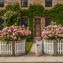 Pink Roses and White Picket Fence in Front of Ivy-covered Stone House, Stonington, CT