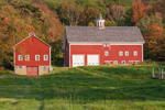 Late Afternoon Light on Red Barns in Early Autumn at High Valley Farm, Taconic Mountains, Copake Falls, NY