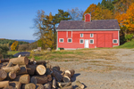 Red Barn and Log Pile in Autumn at High Valley Farm, Taconic Mountains, Copake Falls, NY