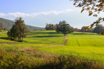 Late Afternoon Light Shines on Green Fields in Early Autumn at High Valley Farm, Taconic Mountains, Copake Falls, NY