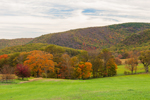 Grassy Fields, Mountains, and Foliage in Autumn at High Valley Farm, Taconic Mountains, Copake Falls, NY