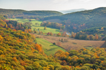 Panoramic View of High Valley Farm in Autumn from Mountain Top in Taconic State Park, Taconic Mountains, Copake Falls, NY