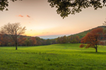 Sunset over Field at High Valley Farm with View of Catskill Mountains in Background, Taconic Mountains, Copake Falls, NY