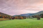Sunrise over Fields, Forests, and Mountains in Autumn at High Valley Farm, Taconic Mountains, Copake Falls, NY