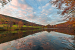 Early Morning Reflections in Pond in Autumn at High Valley Farm, Taconic Mountains, Copake Falls, NY