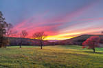 Dramatic Sunset at High Valley Farm in Autumn with Catskill Mountains in Distance, Taconic Mountain Region, Copake Falls, NY