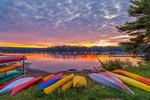 Colorful Kayaks at Sunrise at Somes Harbor, Village of Somesville, Mount Desert Island, Mount Desert, ME