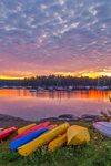 Colorful Kayaks at Sunrise at Somes Harbor, Village of Somesville, Mount Desert Island, Mount Desert, ME