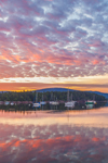 Sunrise over Somes Harbor, Village of Somesville, Mount Desert Island, Mount Desert, ME