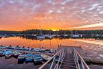 Sunrise over Dock and Boats in Somes Harbor, Village of Somesville, Mount Desert Island, Mount Desert, ME