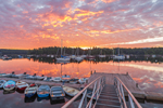 Sunrise over Dock and Boats in Somes Harbor, Village of Somesville, Mount Desert Island, Mount Desert, ME