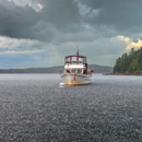 Thunderstorm and Heavy Rain over Motor Cruiser in Tom Cod Cove at Holbrook Island Sanctuary State Park, Cape Rosier, Brooksville, ME