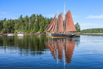 "Preparing to Leave: Schooner ""Winfield Lash"" and Reflections in Tom Cod Cove at Holbrook Island Sanctuary State Park, Cape Rosier, Brooksville, ME"
