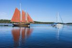 """Preparing to Leave: Schooner """"Winfield Lash"""" and Reflections in Tom Cod Cove at Holbrook Island Sanctuary State Park, Cape Rosier, Brooksville, ME"""
