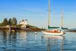 "Yawl ""Snow Falcon"" Moored near Pumpkin Island Lighthouse off Eggemoggin on Little Deer Isle, Deer Isle, ME"