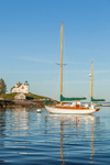 "Yawl ""Snow Falcon"" Moored near Pumpkin Island Lighthouse off Eggemoggin on Little Deer Isle, Deer Isle, ME"