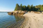 Shell Beach, Rocks, and Forest along Shoreline of Camp Island in Archipelago, Deer Island Thorofare, Stonington, ME