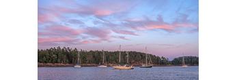 Sunset over Somes Harbor, Village of Somesville, Mount Desert Island, Mount Desert, ME