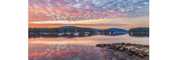 Sunrise over Somes Harbor, Village of Somesville, Mount Desert Island, Mount Desert, ME