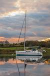 Sloop at Sunset in Hadley Harbor, Naushon Island, Elizabeth Islands, Gosnold, MA
