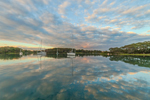 Dramatic Clouds Reflecting in Calm Waters of Hadley Harbor at Sunset, Naushon and Bull Islands, Elizabeth Islands, Gosnold, MA