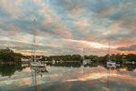 Dramatic Clouds Reflecting in Calm Waters of Hadley Harbor at Sunset, Naushon Island, Elizabeth Islands, Gosnold, MA