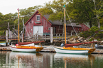 Hereshoff Sailboats and Red Boat House in Hadley Harbor, Naushon Island, Elizabeth Islands, Gosnold, MA