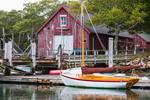 Hereshoff Sailboats and Red Boat House in Hadley Harbor, Naushon Island, Elizabeth Islands, Gosnold, MA