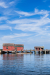 Red Boat Houses and Pier in Outer Hadley Harbor, Uncatena Island, Elizabeth Islands, Gosnold, MA