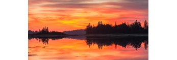 Seal Bay at Sunrise, View from Burnt Island Looking North to Hay Island, Seal Bay, Vinalhaven, ME