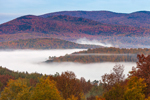 Early Morning Ground Fog over Valley and Green Mountains in Autumn, View from Wilmington, VT