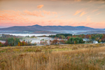 Sunrise over Haystack Mountain and Mount Snow in Autumn, View from Wilmington, VT