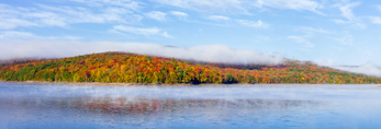 Ground Fog and Early Morning Light in Autumn on Harriman Reservoir, Green Mountain National Forest, Wilmington, VT