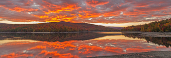Sunset at Harriman Reservoir in Fall with Green Mountain National Forest in Distance, Wilmington, VT