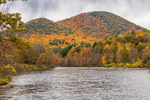 Deerfield River with Mount Peak and Mount Institute in Autumn, Mohawk Trail Scenic Byway, Berkshire Mountains, Charlemont, MA