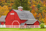 Red Barn with White Fence and Old Wagon in Autumn on Mohawk Trail Scenic Byway, Berkshire Mountains, Charlemont, MA