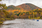 Rafting on Deerfield River with Mount Peak and Mount Institute in Autumn, Mohawk Trail Scenic Byway, Berkshire Mountains, Charlemont, MA