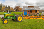 John Deere 430 Tractor at Pumpkin Stand and Farm Store at Willow Brook Farms in Autumn, Hudson River Valley and Taconic Mountains Regions, Northeast, NY