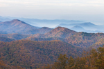 Early Morning Light and Ground Fog in Valley of Blue Ridge Mountains in Autumn, View from Blue Ridge Parkway, Rockbridge County, VA