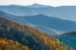 Backlit Mountain Layers in Autumn, View from Skyline Drive, Shenandoah National Park, Rockingham County, VA