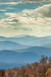 Mountain Layers with Blue Sky and White Clouds, View from Skyline Drive, Shenandoah National Park, Rappahannock County, VA
