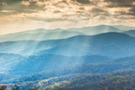 Sunbeams over Length of Blue Ridge Mountain Range in Autumn, View from Skyline Drive, Shenandoah National Park, Rappahannock County, VA